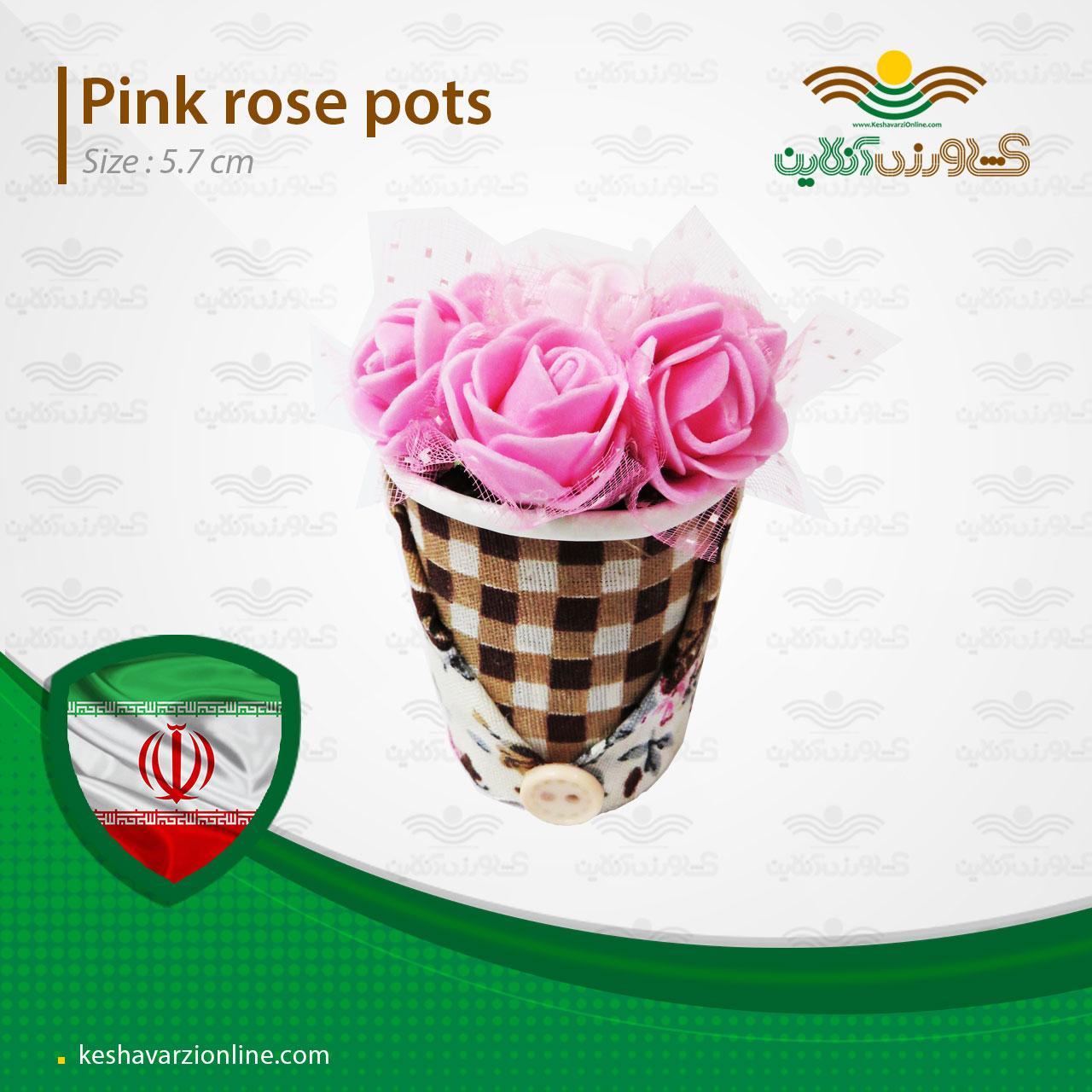 گلدان رز صورتی