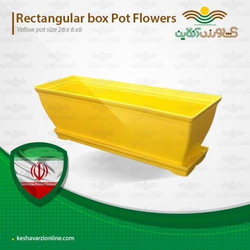 گلدان رنگی مستطیلی زرد کوچک