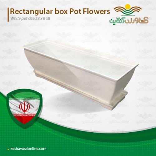 گلدان رنگی مستطیلی سفید