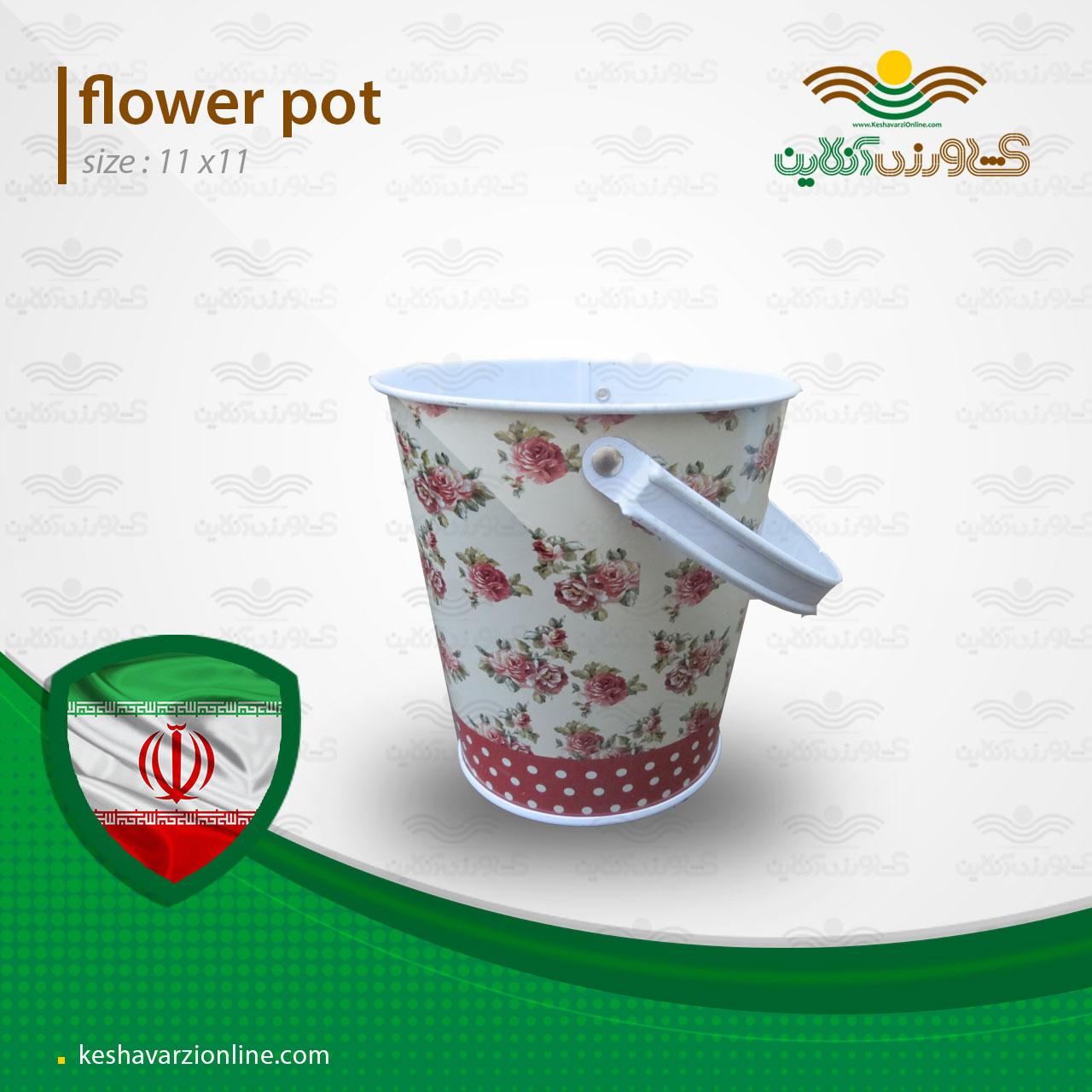 گلدان فلزی طرح گل سرخ